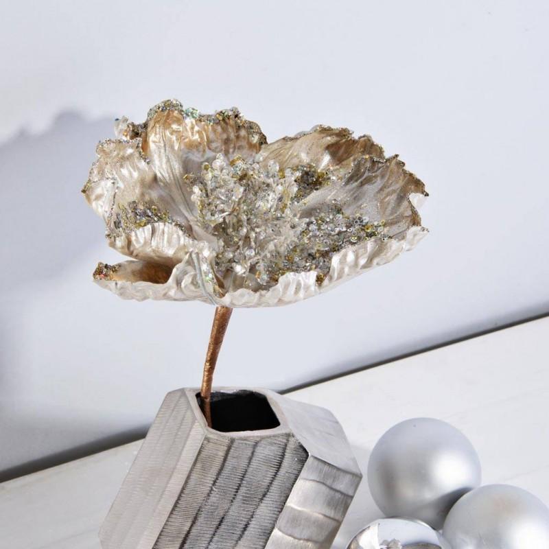 Flor Ponsettia Escarcha / Lentejuelas Silver Haus