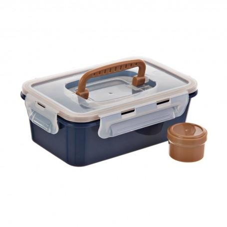 Repostero con tapa hermética, agarrador y frasco para aderezo Blue Jean