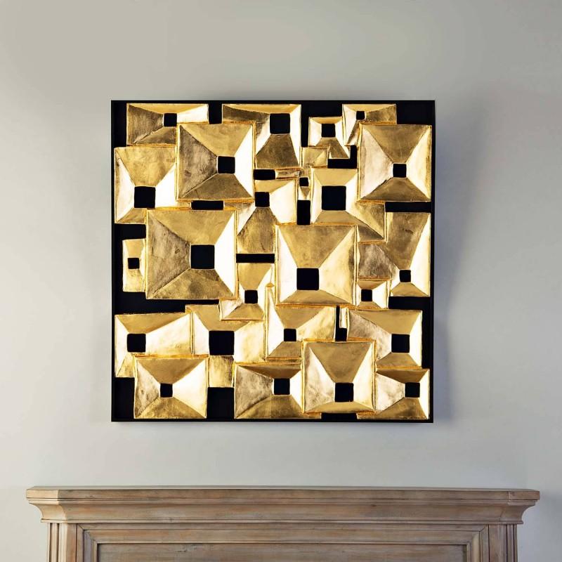 Cuadro Aplique Geométrico Cubos Dorado