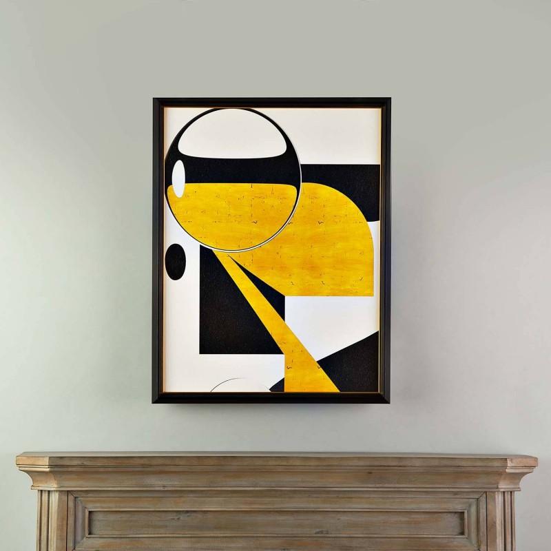 Cuadro con marco Abstracto Negro / Amarillo