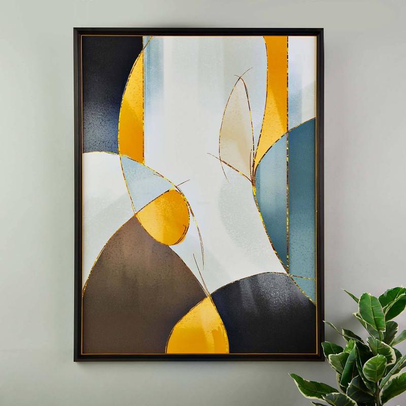 Cuadro con marco Abstracto Mostaza Multi
