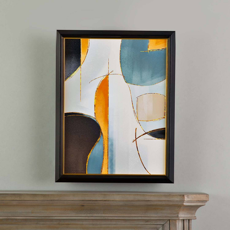 Cuadro con marco Mostaza Multi Abstracto