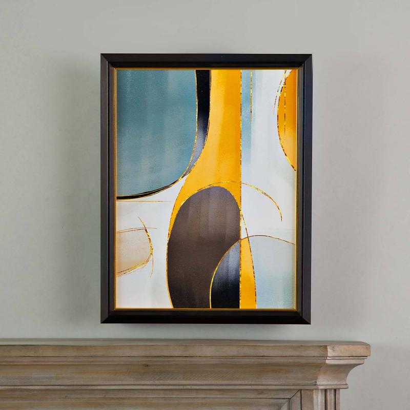 Cuadro con marco Negro / Dorado Abstracto Mostaza Multi