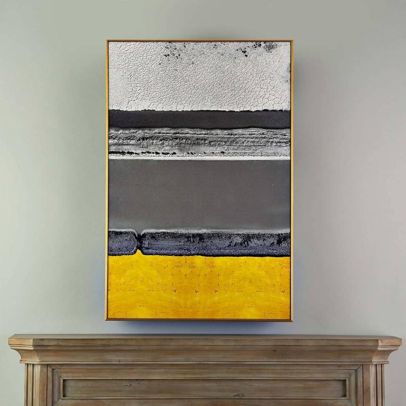 Cuadro con marco Abstracto Gris / Amarillo