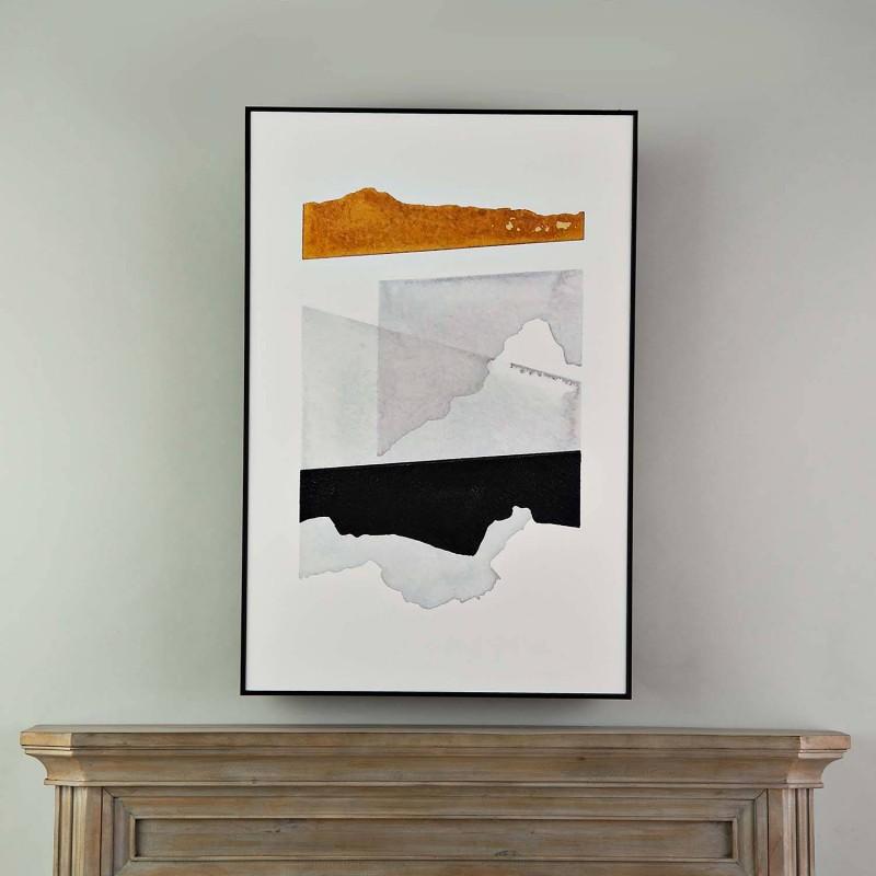 Cuadro con marco negro Abstracto Negro / Dorado