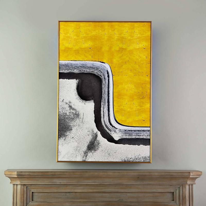 Cuadro con marco Negro / Dorado Abstracto Gris / Amarillo