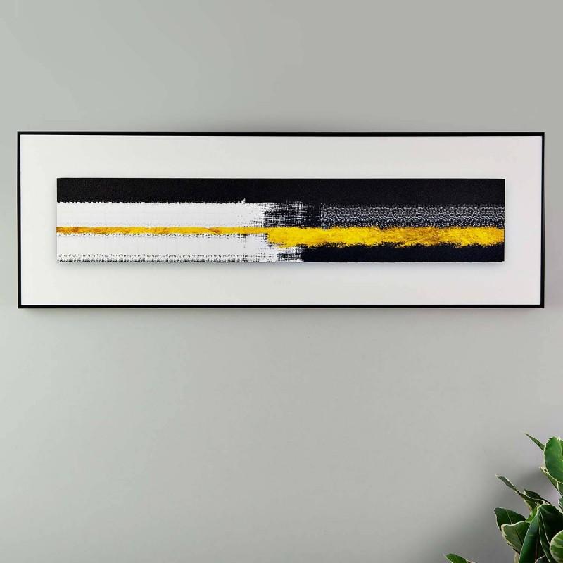 Cuadro Abstracto Negro / Dorado con marco