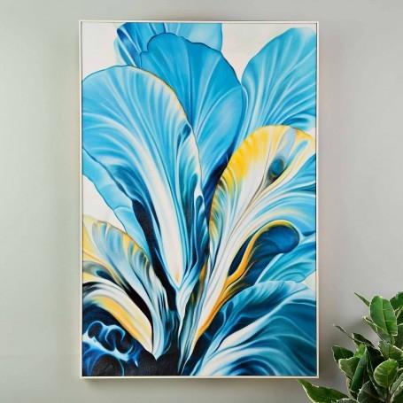 Cuadro con marco Flor Azul / Mostaza