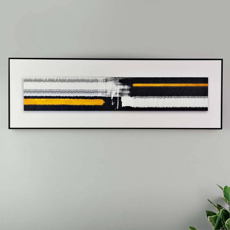 Cuadro Abstracto Negro / Dorado con marco negro