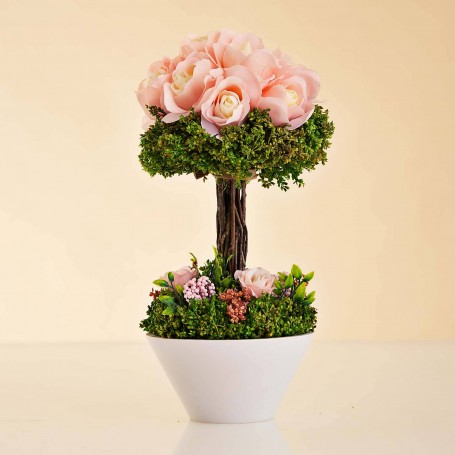 Arreglo Floral Rosas con tallo y maceta