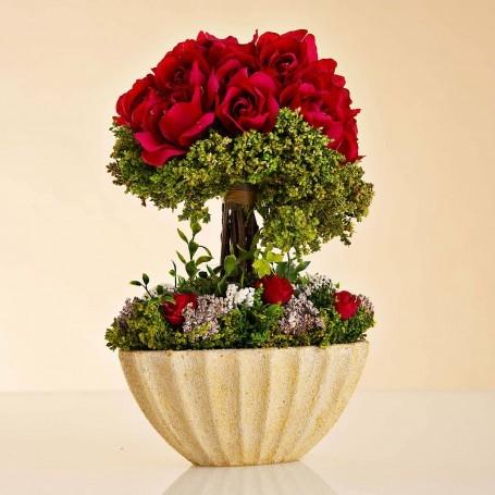 Arreglo Floral Rosas Rojo con maceta ovalada