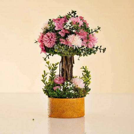 Arreglo Floral Rosado / Blanco con maceta de barro
