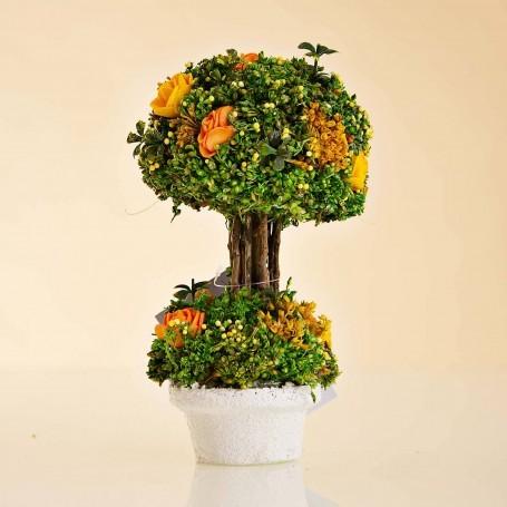 Arreglo Floral Mini Amarillo / Naranja con maceta