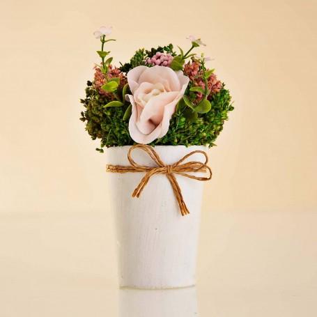 Arreglo Floral Mini Rosado con maceta / imanes