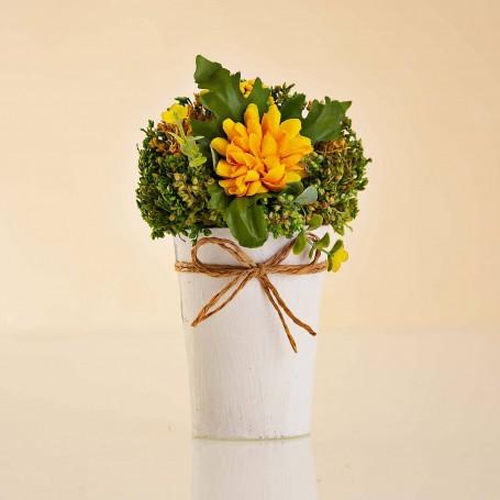 Arreglo Floral Mini Amarillo con maceta / imanes