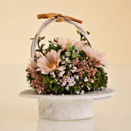 Arreglo Floral Mini Rosado / Amarillo con canasta
