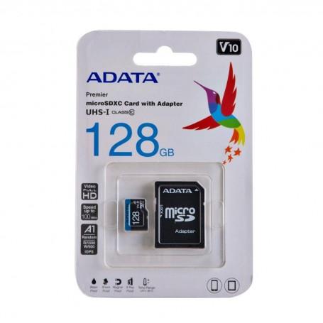 Memoria micro SD + Adaptador SD Class 10 / 128GB Adata