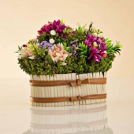 Arreglo Floral Pequeño Multi con maceta de caña / amarre