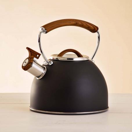 Tetera de acero inoxidable para inducción 3 L Negro Mate / Mango Natural