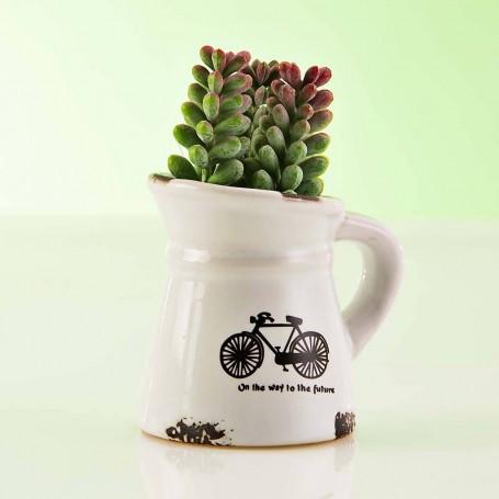 Planta artificial mini Suculenta con maceta jarra