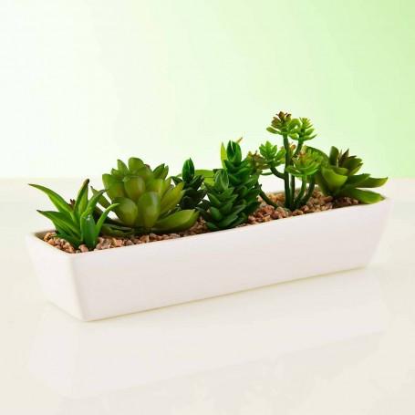 Planta artificial Suculenta Multi con maceta jardinera blanca