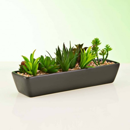 Planta artificial Suculenta Multi con maceta jardinera negra