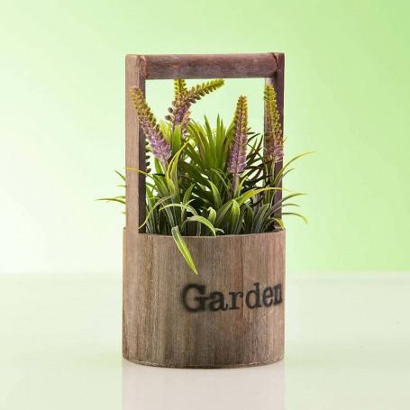 Planta artificial Lila / Verde con agarradera / maceta Garden