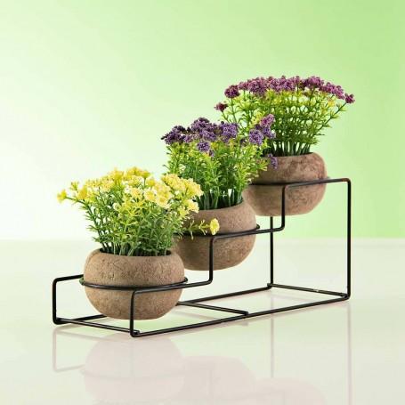 Juego de 3 plantas artificiales con flor / base / maceta