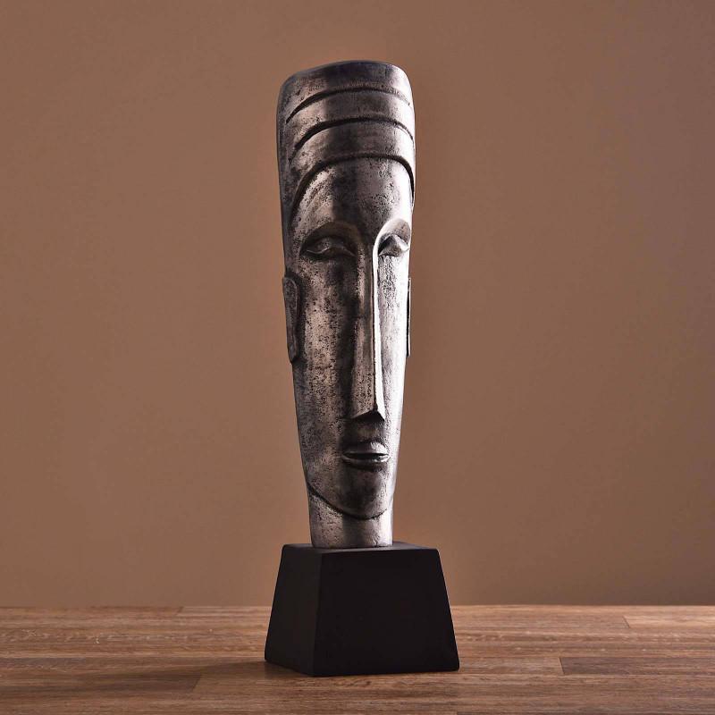 Escultura Cara con base Silver Mate / Negro Haus