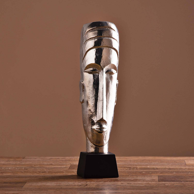 Escultura Cara con base Silver / Negro Haus