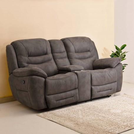 Sofá reclinable de tela 2 puestos con bar / 2 cargas USB / 2 tomacorrientes