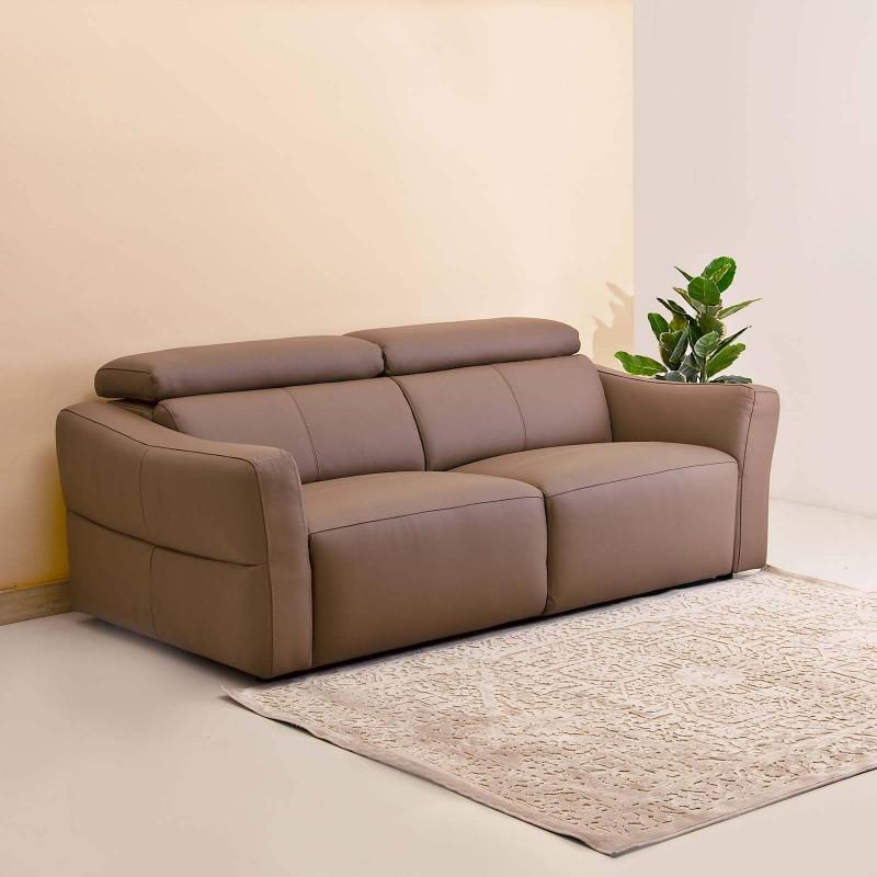 Sofá de cuero con reposacabeza ajustable 3 puestos Habano