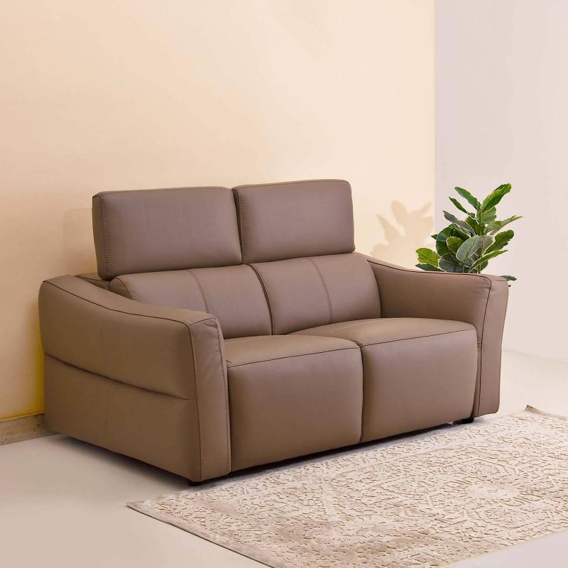 Sofá de cuero con reposacabezs ajustable 2 puestos Habano