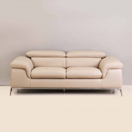 Sofá de cuero con reposacabeza ajustable 2 puestos Marfil