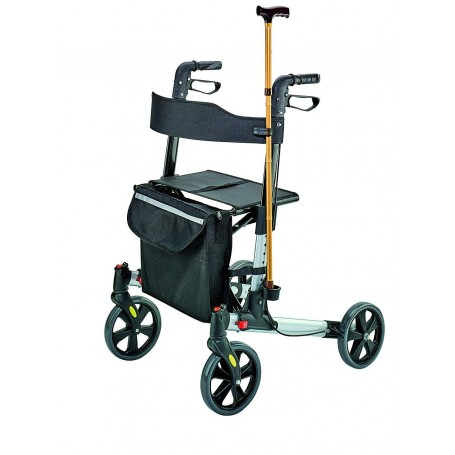 Caminador plegable / ajustable con 4 ruedas / bolso / asiento / soporte para bastón Negro Weinberger