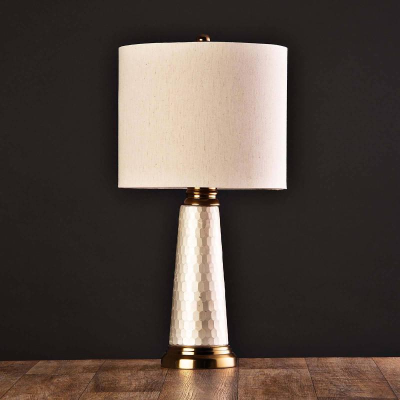 Lámpara de mesa Base Geométrica Beige / Dorado Haus