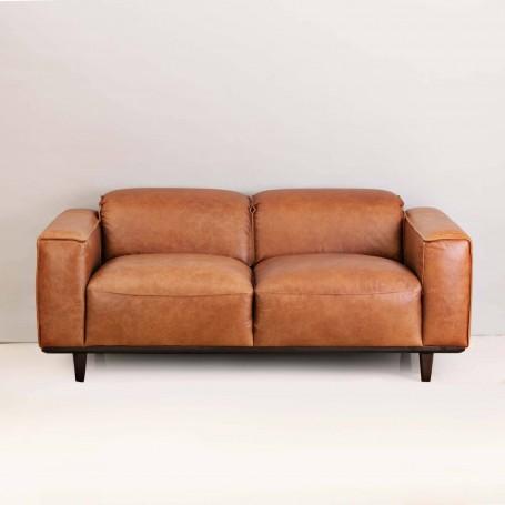 Sofá de cuero con reposacabeza ajustable 2 puestos Café