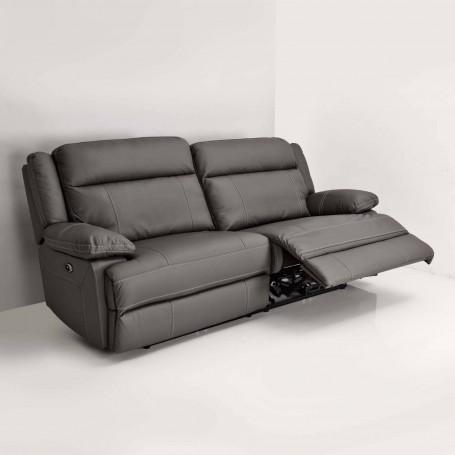 Sofá reclinable eléctrico de cuero 3 puestos Gris
