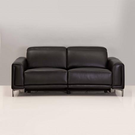 Sofá reclinable eléctrico con carga USB 3 puestos Negro