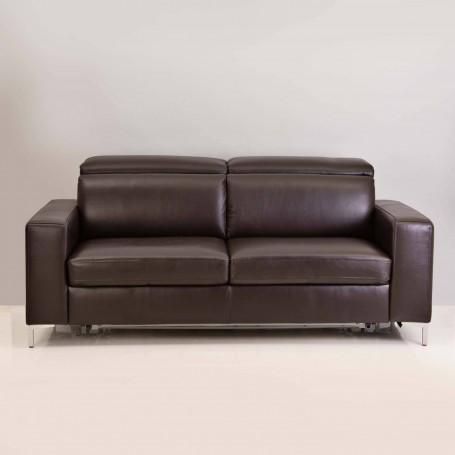Sofá cama con reposacabezas ajustable de cuero 3 puestos / Full