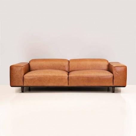 Sofá de cuero con reposacabezas ajustable 3 puestos Café