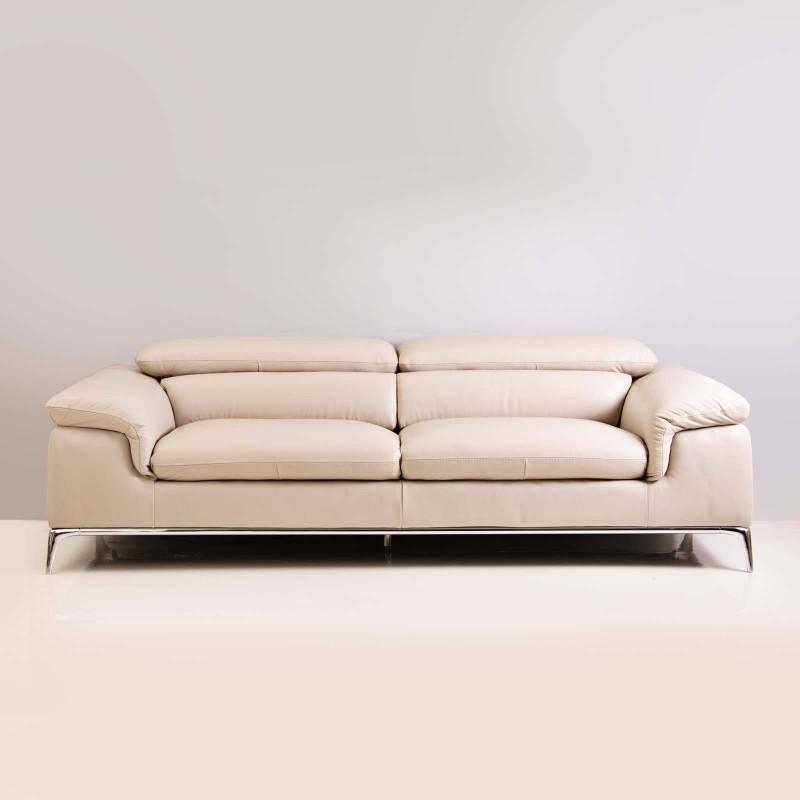 Sofá de cuero con reposacabeza ajustable 3 puestos Marfil