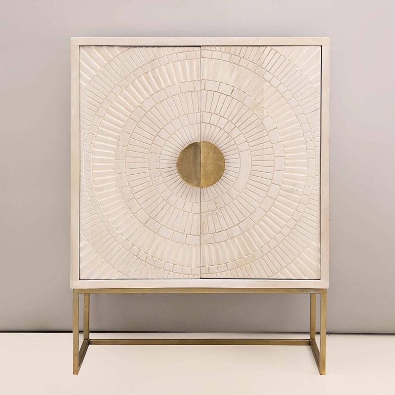 Mueble consola Líneas Blanco Wash / Dorado Haus