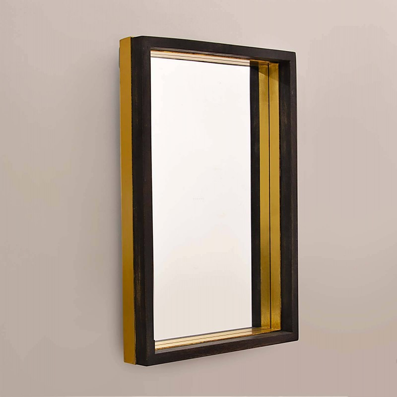 Espejo rectangular con marco Negro / Dorado Haus