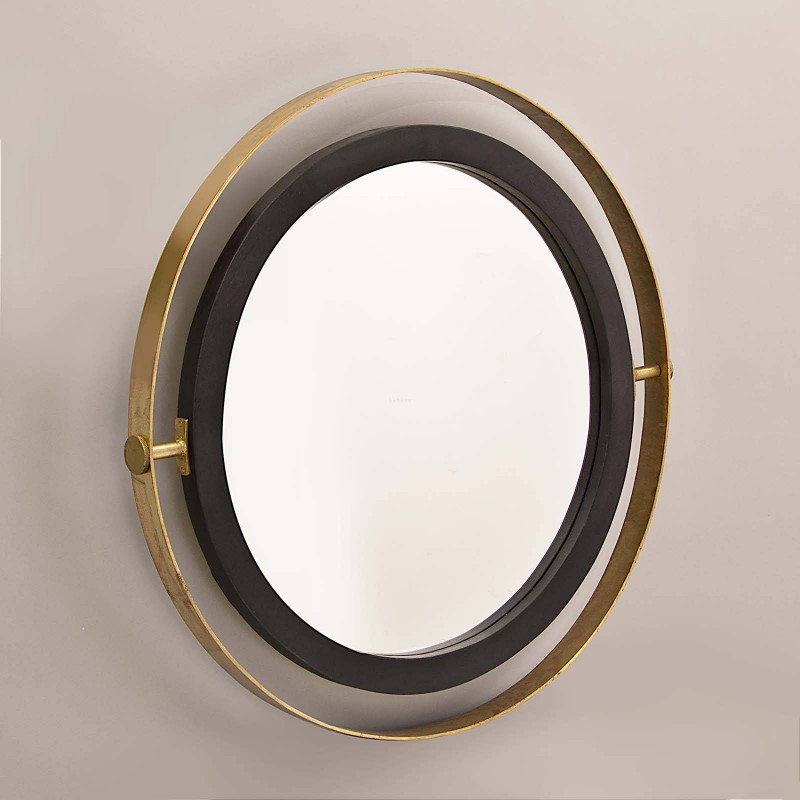 Espejo con doble marco Negro / Dorado Haus