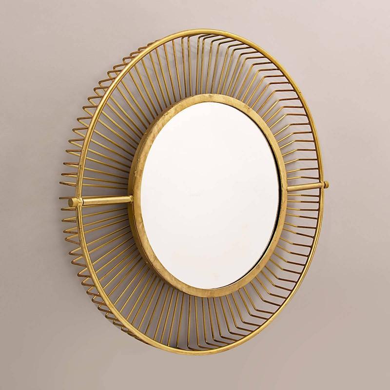 Espejo con doble marco Rayos Dorado Haus