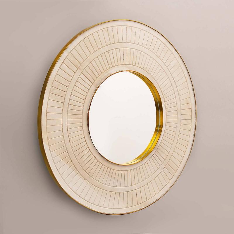 Espejo con marco Líneas Blanco Wash / Dorado Haus