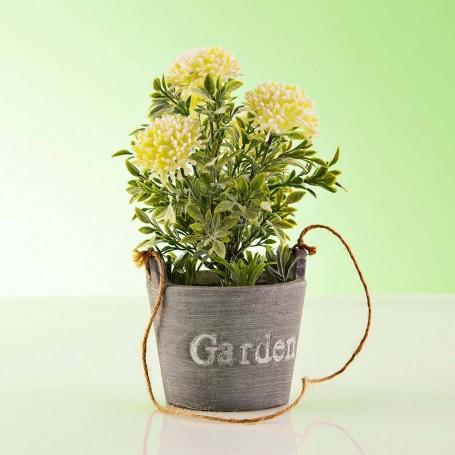 Planta artificial colgante Flores con maceta