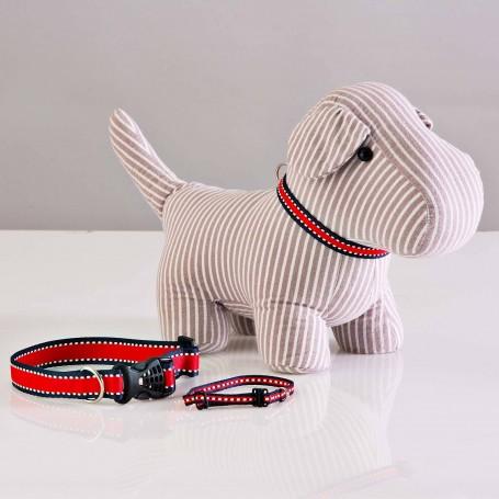 Collar para perro Rojo / Línea Azul marino