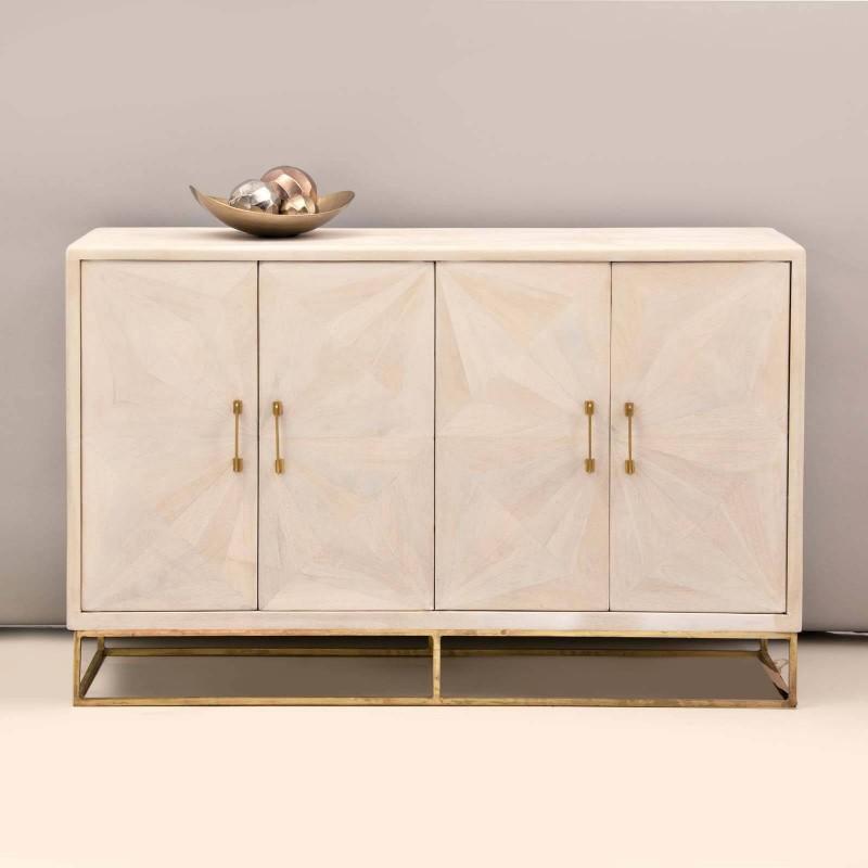 Mueble bufetero Franjas Blanco Wash / Dorado Haus